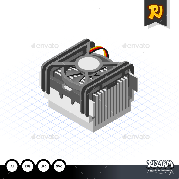 GraphicRiver Isometric Fan Processor Socket 478 10520217