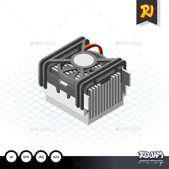 GraphicRiver Isometric Fan Processor Socket 478 10520217