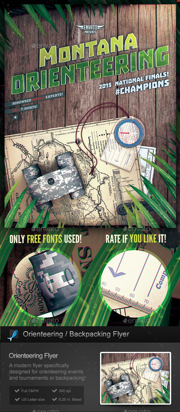 GraphicRiver Orienteering Backpacking Flyer Template 10520654