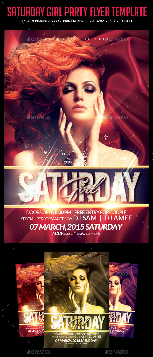 GraphicRiver Saturday Girl Party Flyer Template 10520681