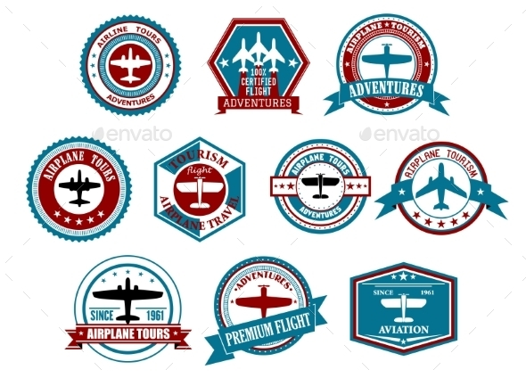 GraphicRiver Aviation labels or badges in retro style 10520772