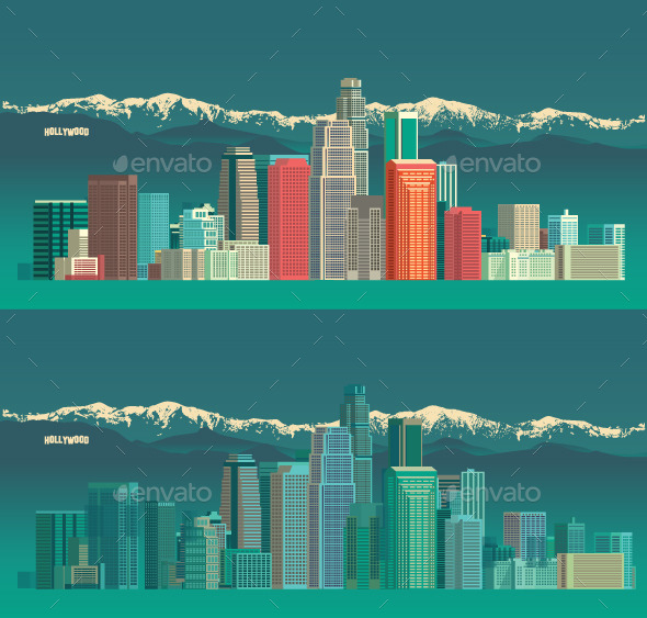 GraphicRiver Los Angeles USA City Skyline 10520855