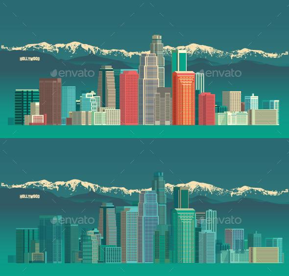 GraphicRiver Los Angeles USA City Skyline 10520855