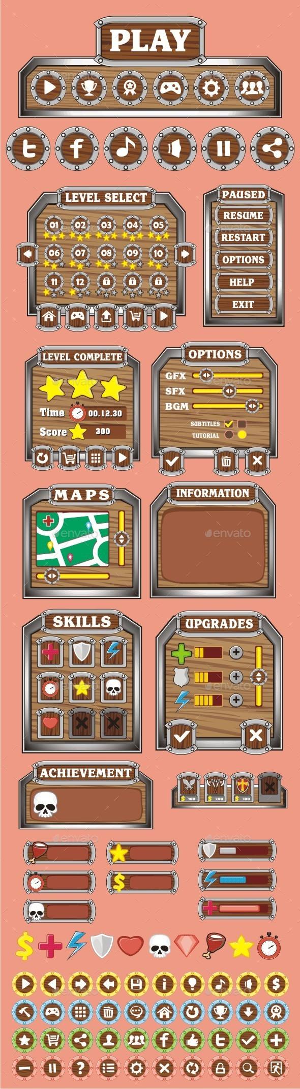 GraphicRiver cartoon game gui pack 9 10521140