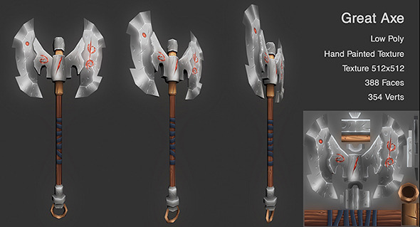 3DOcean Low Poly Axe 10521568