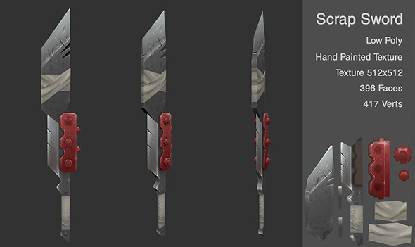 Low Poly Scrap Sword - 3DOcean Item for Sale