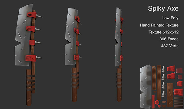 Low Poly Hand Painted Axe - 3DOcean Item for Sale