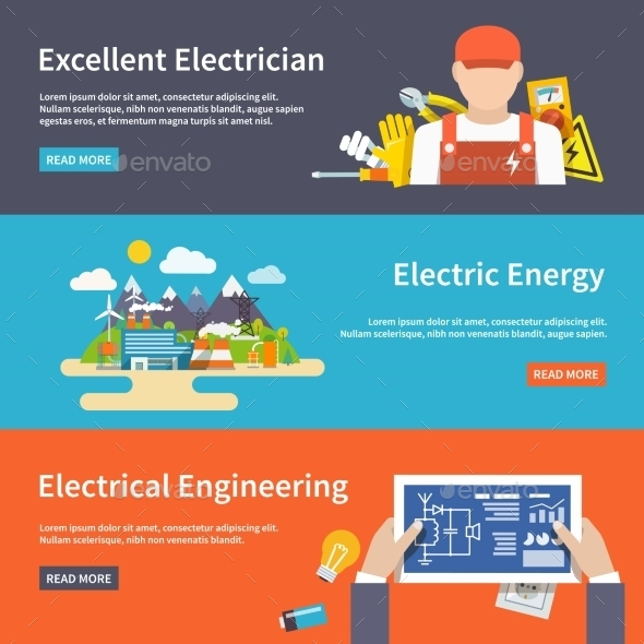 GraphicRiver Electricity Banner Set 10521670