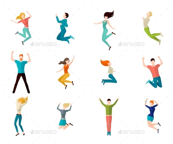 GraphicRiver Jumping People Set 10521710