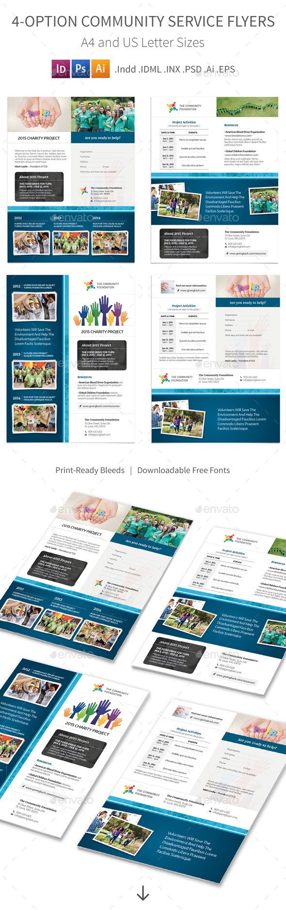 GraphicRiver Community Service Flyers 4 Options 10522250