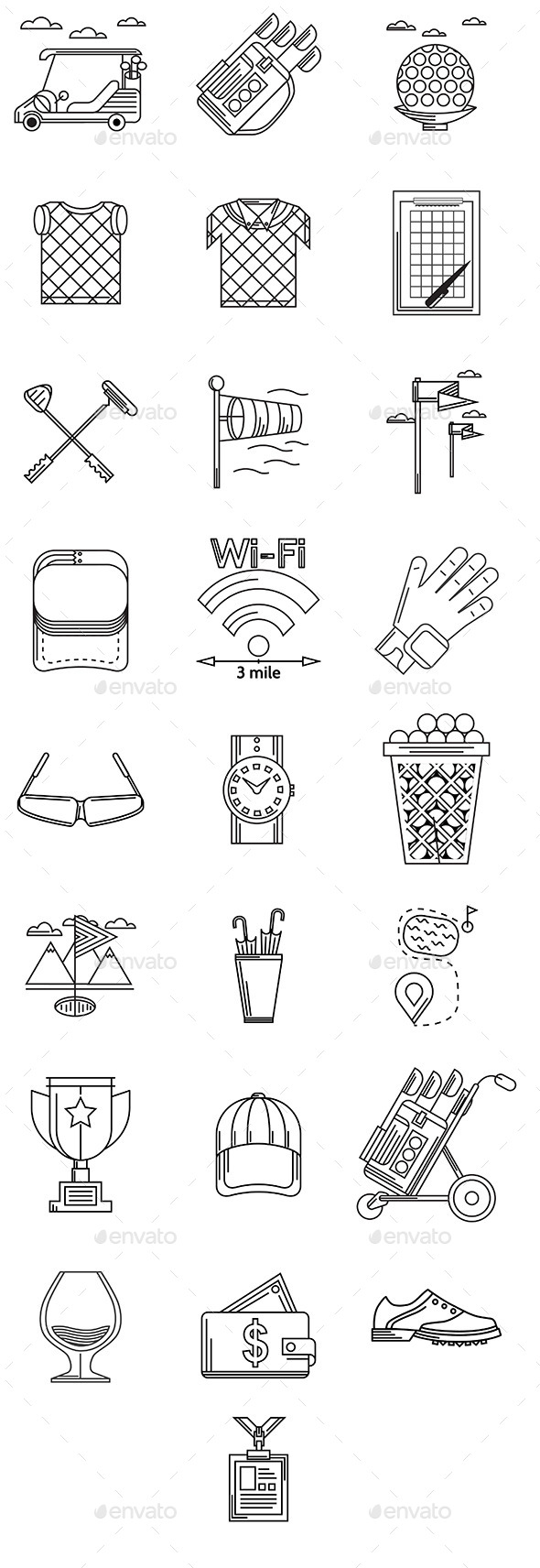 GraphicRiver 25 Black Contour Golf Icons 10522584