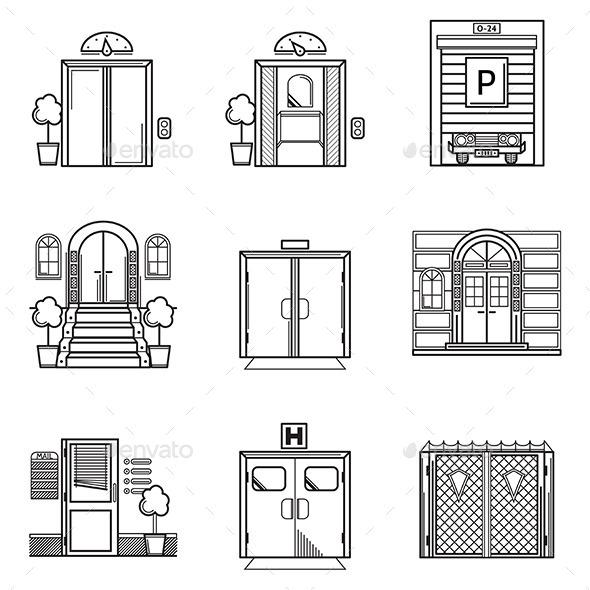 GraphicRiver Black Contour Door Icons 10522687