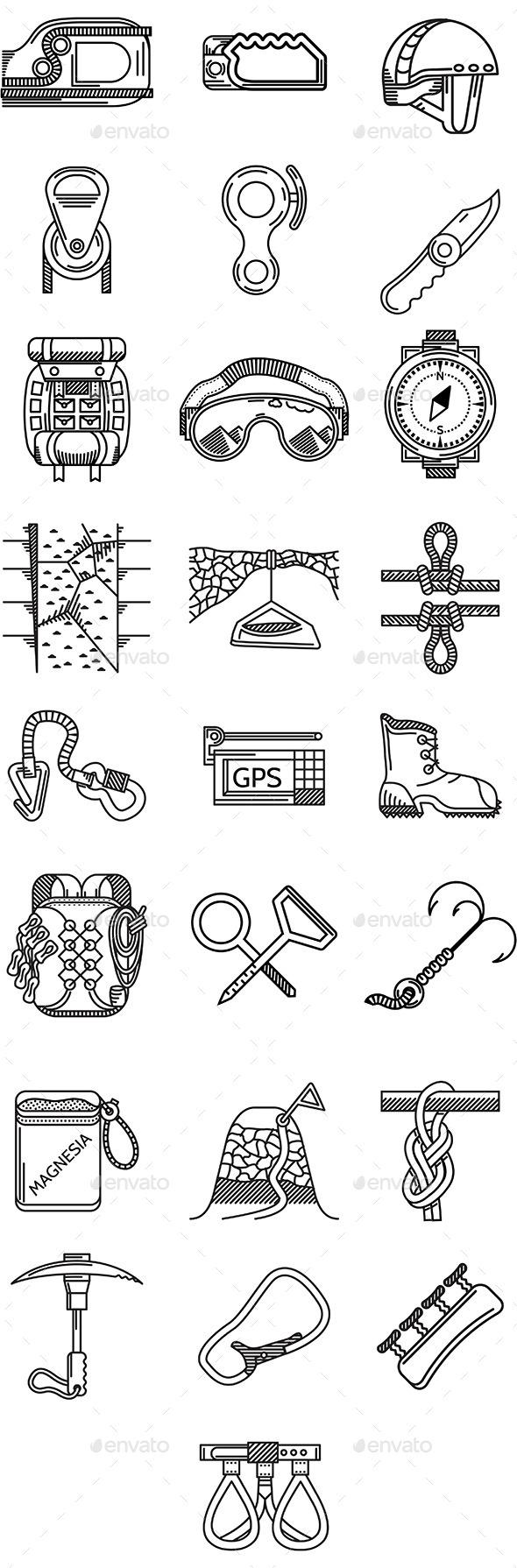 GraphicRiver Rock Climbing Icons 10522789