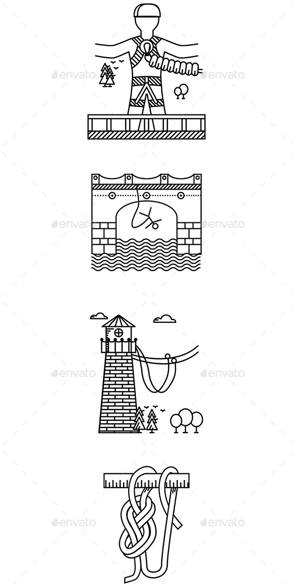 GraphicRiver Black Outline Icons for Rope Jumping 10522816