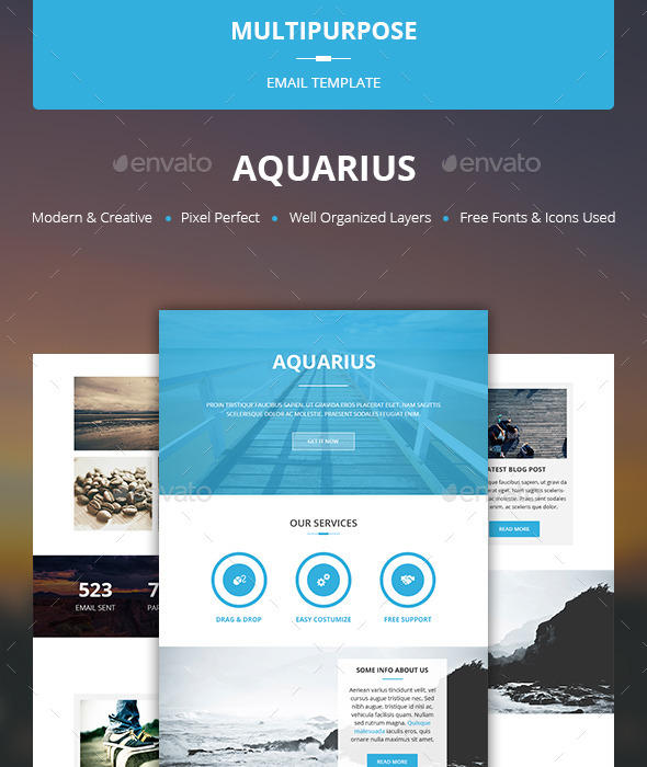 GraphicRiver Aquarius Multipurpose Email Template 10522833