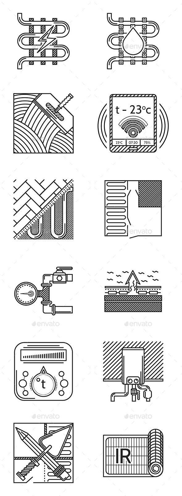 GraphicRiver Heated Floor Icons 10522860