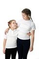 Little girls hugs on white - PhotoDune Item for Sale