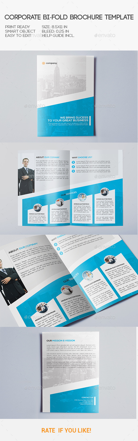 Corporate bi fold brochure corporate brochures for Bi fold brochure template illustrator