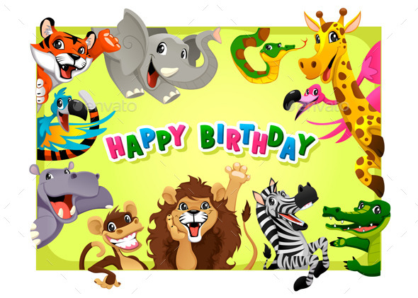 GraphicRiver Happy Birthday Card with Jungle Animals 10523486