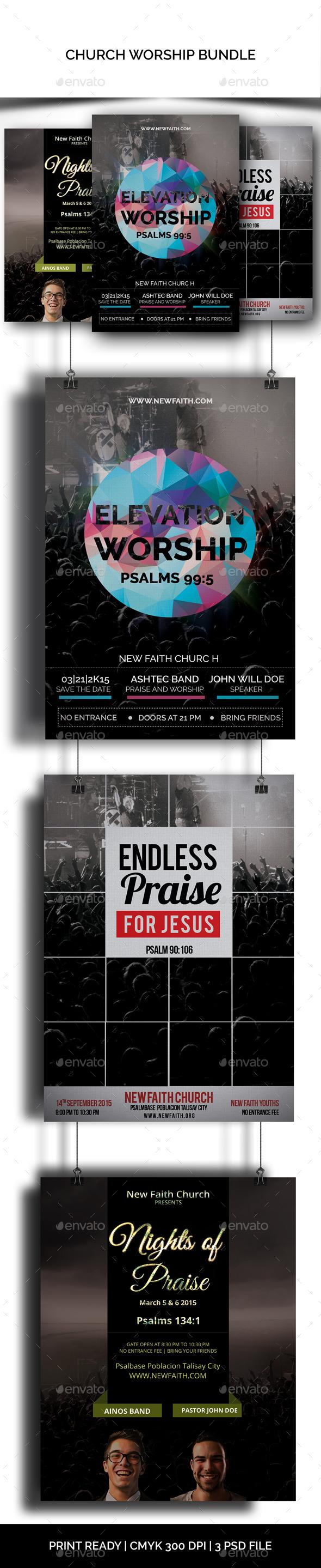 GraphicRiver Church Worship Flyers Bundle 10450521