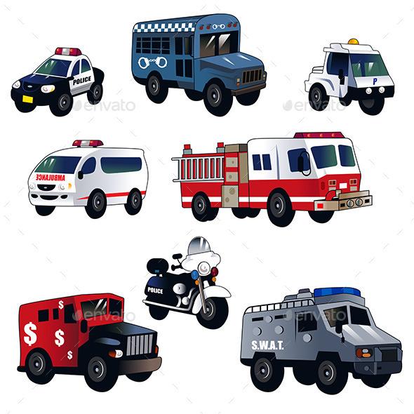 GraphicRiver Cartoon Law Enforcement Cars 10524744