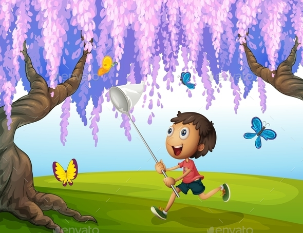 GraphicRiver Boy Catching Butterflies 10524754