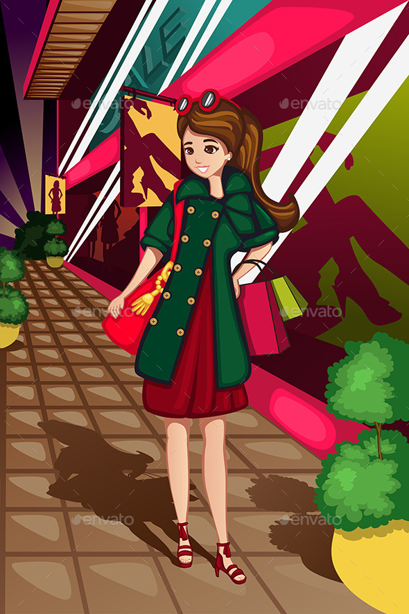 GraphicRiver Stylish Women Going Shopping 10524788