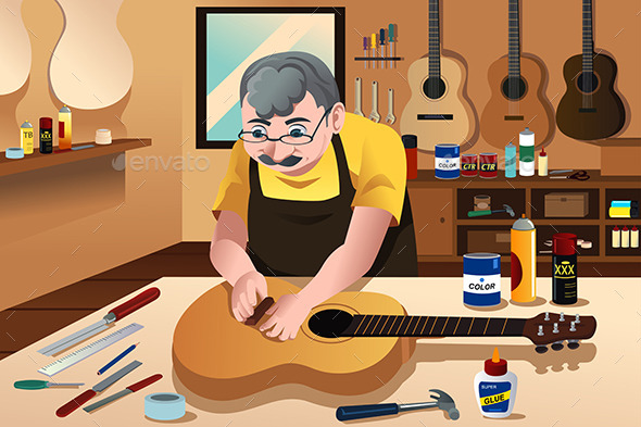 GraphicRiver Guitar Maker Working in His Shop 10524793