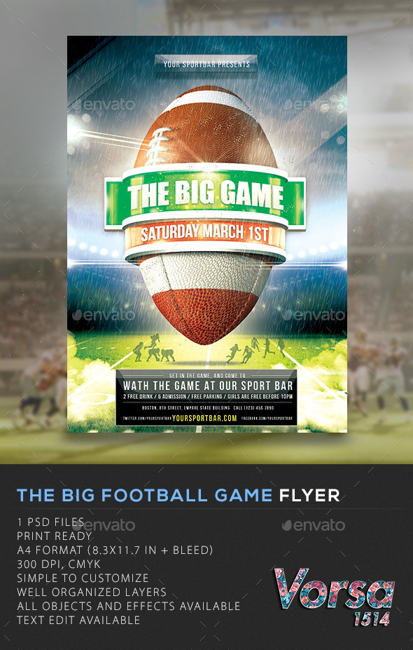 GraphicRiver The Big Football Game Flyer 10524808