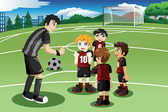 GraphicRiver Little Kids on Soccer Field 10524810