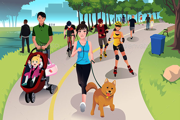 GraphicRiver Active People in a Park 10524965
