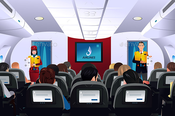 GraphicRiver Flight Attendant Showing Safety Procedure 10524977