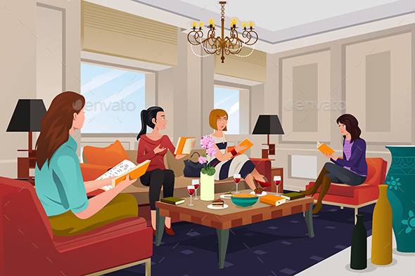 GraphicRiver Women in a Book Club Meeting 10525085