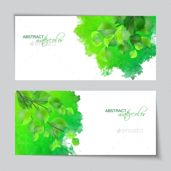 GraphicRiver Watercolor Banners with Green Leaves 10525093