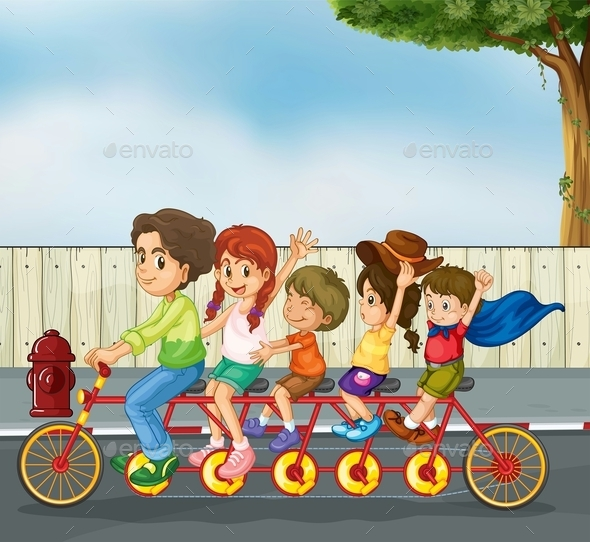 GraphicRiver Kids on the Bicycle 10525284
