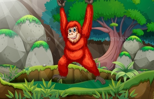 GraphicRiver Orangutan in Forest 10525304