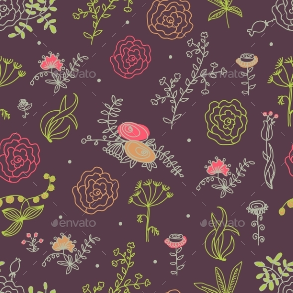 GraphicRiver Elegance Seamless Pattern with Flowers 10525412