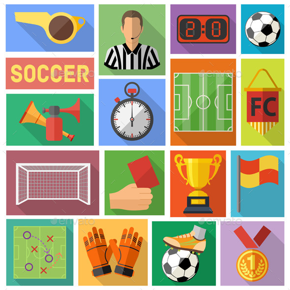 GraphicRiver Soccer Flat Icon Set 10525679