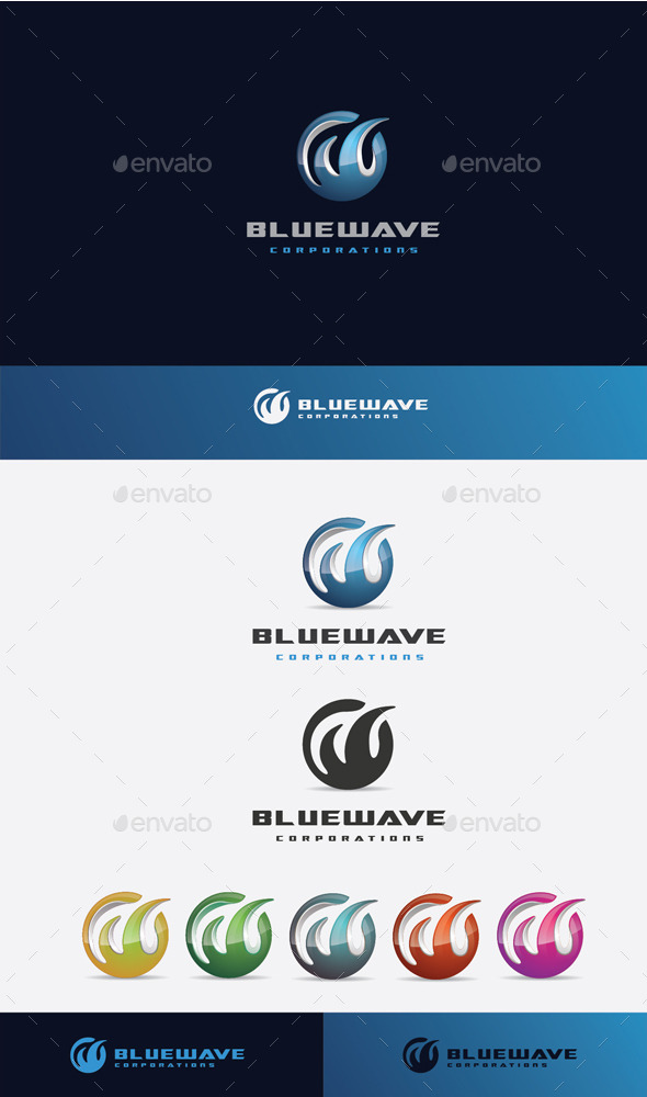 GraphicRiver Blue Wave Logo 10525730