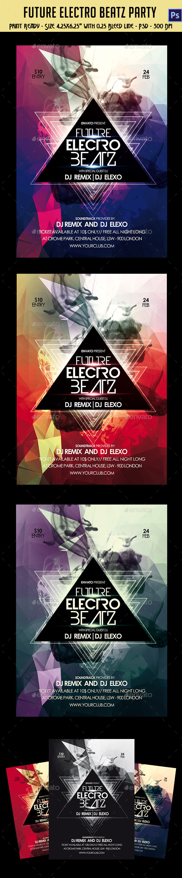 GraphicRiver Future Electro Beatz Party Flyer 10525764