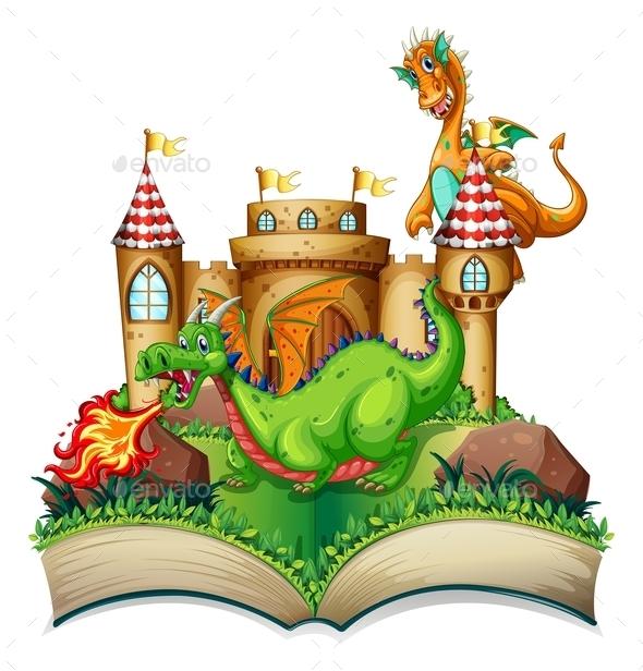 GraphicRiver Dragon and Book 10525771