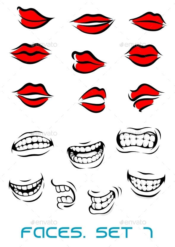 GraphicRiver Cartooned Lips and Mouth Set 10525948