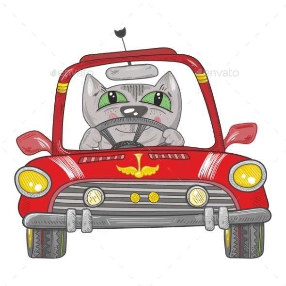 GraphicRiver Cat on the Car 10526462