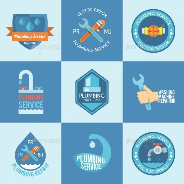 GraphicRiver Plumbing Labels Icons Set 10526522