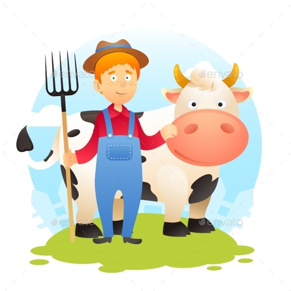 GraphicRiver Farmer with Cow 10526537