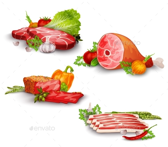 GraphicRiver Meat with Vegetables Set 10526554