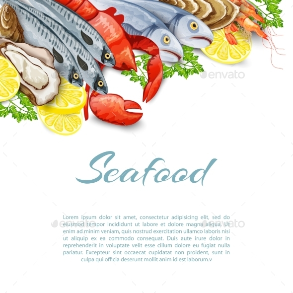 GraphicRiver Seafood Products Background 10526564