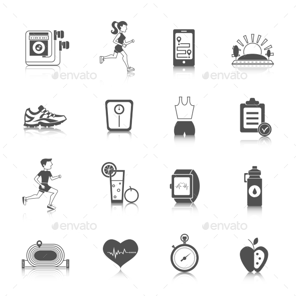 GraphicRiver Jogging Icons Black 10526623