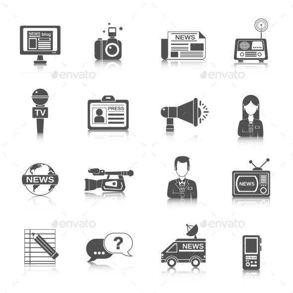 GraphicRiver Journalist Icon Black 10526629