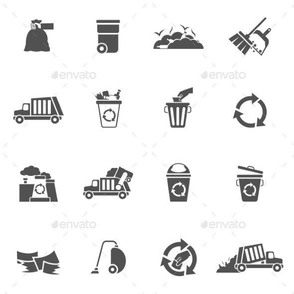 GraphicRiver Garbage Icons Black 10526735